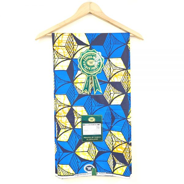 Blue and Yellow Geometric Shapes Vlisco Super Wax